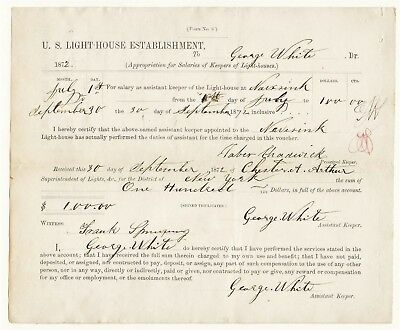 1872 Navesink Lighthouse Document: Pay Voucher For George White Asst Keeper