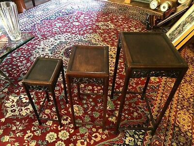 Vintage/Antique Hand Carved CHINESE Rosewood? 3 Tier Nesting Tables Set