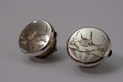 Antique Victorian Silver Aesthetic Bachelor Buttons Solitaire Cufflinks c1880