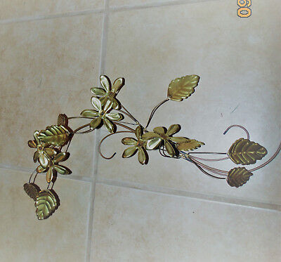 Homco Home Interior 16 inch leaves & flowers Brass,Copper gold Swag branch sprig