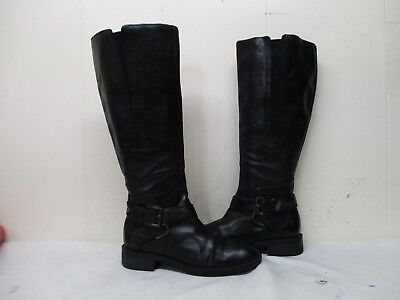 e28e4a17c13b Enzo Angiolini Carly-W Black Leather Zip Wide Calf Riding Boots Womens Size  6 M