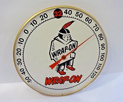 Vintage ** Wrap - On **  ( Indian ) Round Advertising Thermometer