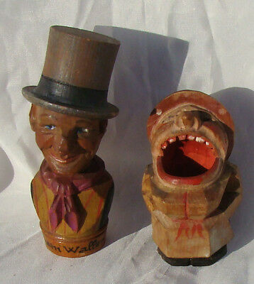 2 Anri Figures: Sam Weller Dickens Character & Toothpick Holder Mouth Nice *g*