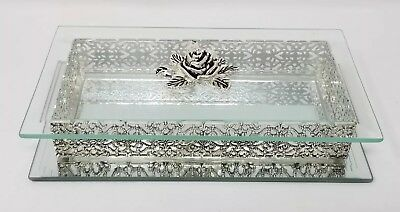 Studio Silversmiths Bevelled Glass Silverplated Jewelry box