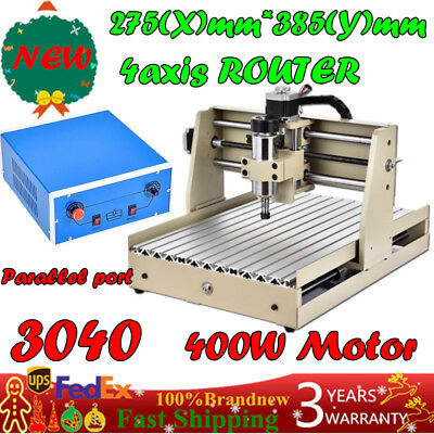 ROUTER ENGRAVER ENGRAVING CUTTER 4 AXIS 3040 T-SCREW DESKTOP CUTTING 400W Motor