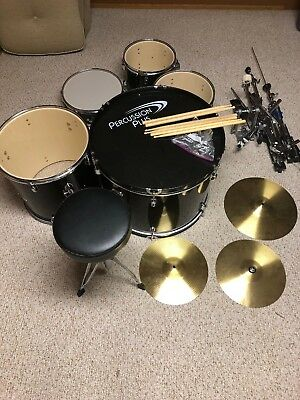 Percussion Plus 5 Piece Drum Set Stool, 2 Cymbals , 3 Drum Keys And 3 Sets Stix