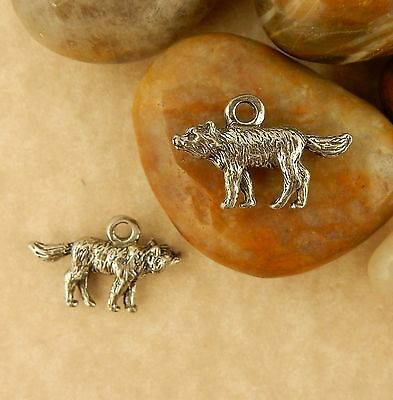 2 Antiqued Pewter 3D Wolf Charms