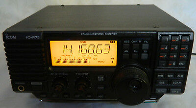 ICOM IC-R75 Communications Receiver + OEM AC Power Adapter AD-55A L@@K Works