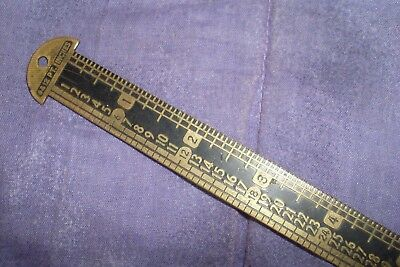 Collectable Vintage/antique Brass Printers Setting Ruler/old Tool -R.collie & Co