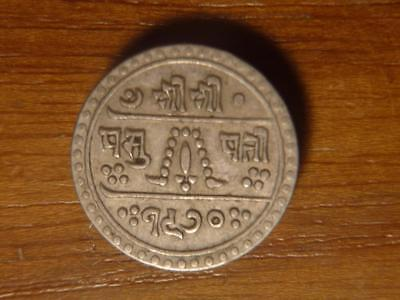 Nepal 1913 1/2 Mohar XF+ Condition...SKU#14709