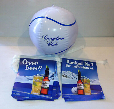 """Rare Canadian Club Beach Ball & """"Over Beer?"""" Promotional Bunting"""