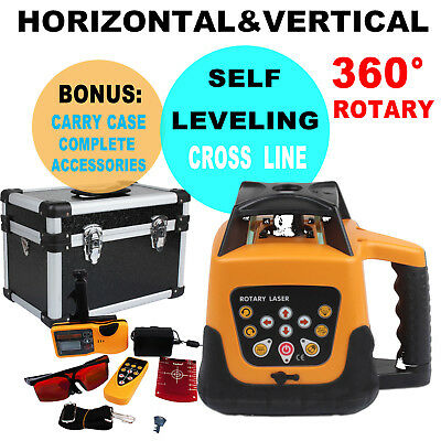 500m Range Automatic Laser Level Rotary Rotating Self Leveling Red Beam w/ Case