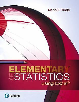 Elementary Statistics Using Excel by Mario F. Triola (2017, Hardcover)