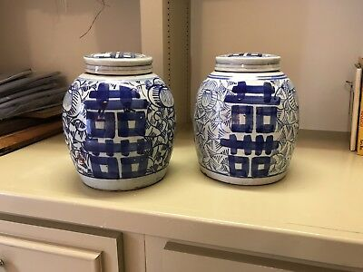 """Chinese Ginger Jars w/Lids Blue and White 10"""" Porcelain Vintage"""