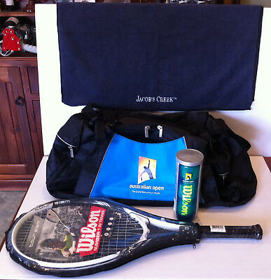 Australian Open Tennis Sports Bag & Wilson Balls & Sports Towel & Tennis Racquet