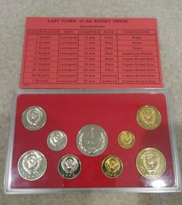 1988 Last Coins of The Soviet Union Mint In Plastic Case Uncirculated