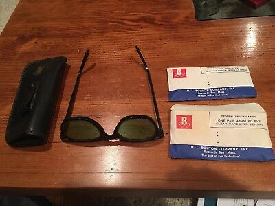 Vintage BI Safety Glasses Clear Lens 1960s 1970s COOL! With 2 Extra Pair Lenses!
