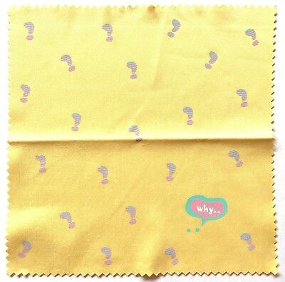 LAST FREE SHIP Love Funny Glass Cleaning Cloth Why Exclamation Mark Yellow JAPAN