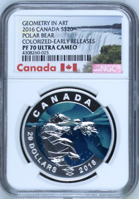 2016 Canada $20 | NGC PR70 UC | Polar Bear | Colorized | ER | Geometry Art | BIN