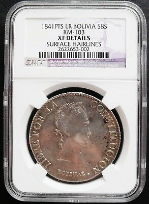 1841 PTS LR Bolivia 8 Soles , PCGS  XF details , nice silver coin