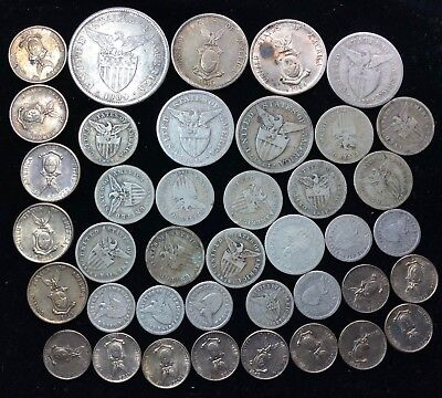 1907 to 1945 10c, 20c, 50c & Peso US-Philippines  Silver Coins 40 pcs