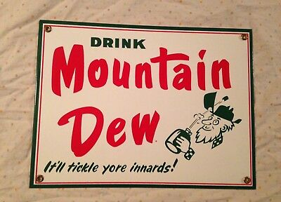 """Drink Mountain Dew Steel Sign, 9"""" X 12"""", great condition"""