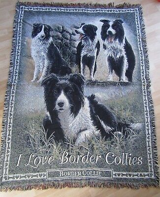 The Danbury Mint I Love Border Collies Throw Blanket Tapestry Fringed Cotton