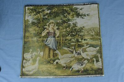 """Antique TAPESTRY WALL HANGING GIRL HERDING GEESE COUNTRYSIDE 19.5"""" x 19"""" #04404"""