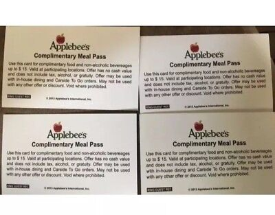 (4) Applebee's Meal Pass Vouchers NO EXPIRATION, save up to $60, free shipping
