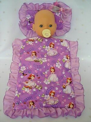 Dolls~Sofia The First~Purple Pillow & Quilt Cover Set For~Bed~Cot~Pram~Cradle