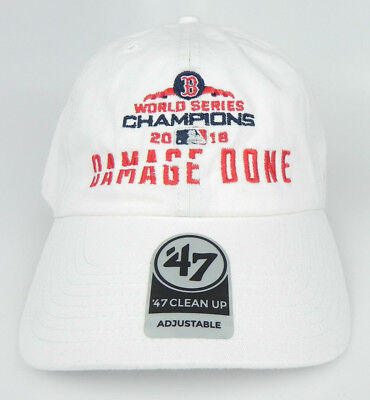 on sale 3d886 0d664 Boston Red Sox Mlb White Damage Done World Series Champions Dad Hat Cap New!
