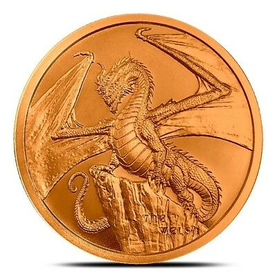 World Of Dragons Series - Welsh Dragon 1 oz .999 Copper USA Made BU Round Coin