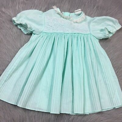 Vintage Baby Girls Mint White Pleated Accordion Lace Trim Dress