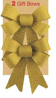 2 Gold Glitter Ribbon Bows Christmas Decoration Christmas Wrapping Hampers