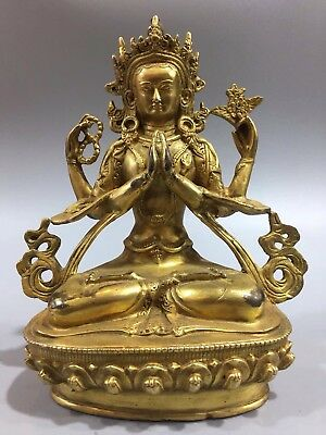 Chinese Perfect Tibetan Buddhist old copper hand-Carved gilded Buddha statue