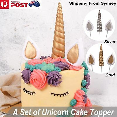 Gold Silver Unicorn Horns + Ears Cake Topper Birthday Cake Decoration Party AU