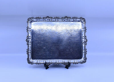 Exquisite Spanish Sterling Silver Rectangular Breakfast Serving Tray, 1.7kg