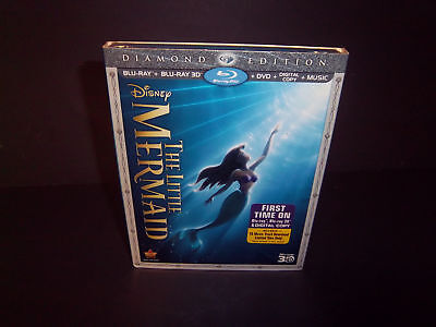 The Little Mermaid  Authentic Disney 3D Blu-ray + Blu-ray + DVD  Diamond Ed  NEW