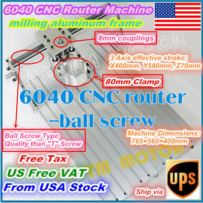 【US Stock】 6040 CNC Router Engraving Milling Machine Aluminum Frame+80mm Clamp