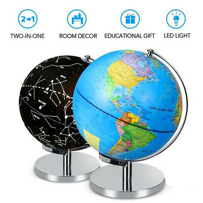 World Globe Rotating Swivel Celestial Map of Earth Geography LED lamp +Stand