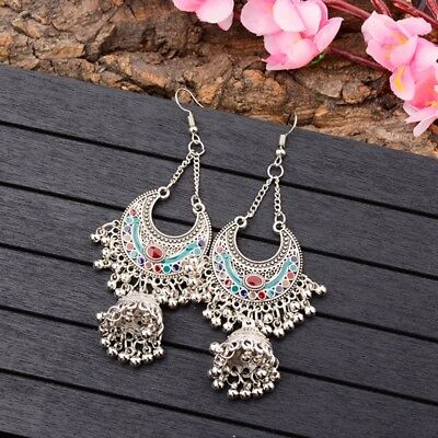 Vintage Bohemian Women Ethnic Gypsy Bell Tassel Long Enamel Drop Dangle Earrings