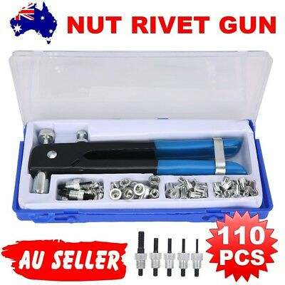 110pcs Nut Rivet Rivnut Nutsert Gun Riveting Riveter Kit M3-M8 Threaded Mandrels