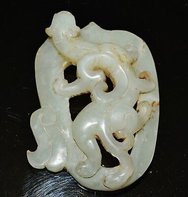 Chinese nephrite celadon white jade plaque or paperweight open carved Kui dragon