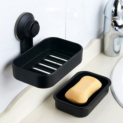 Suction Cup Soap Dish Drain Tray Holder Storage Rack Bathroom Shower Accessory