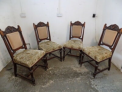 Edwardian,dining chairs,carved,floral,upholstered,castors,four,antique,mahogany