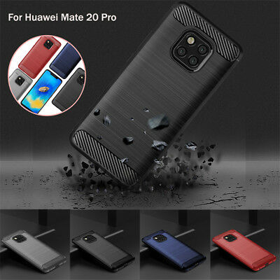 For Huawei Mate 20X 20 Pro 10 Lite Slim Fiber Carbon Silicone Rugged Case Cover