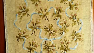 FRENCH ANTIQUE HANDMADE NEEDLEWORK F ARMCHAIR FLOWER BOWS 22x22""