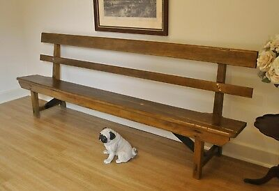 Antique Rustic Kauri Pine Church Pew Hall Window Feature Bench Seat 245 cm long