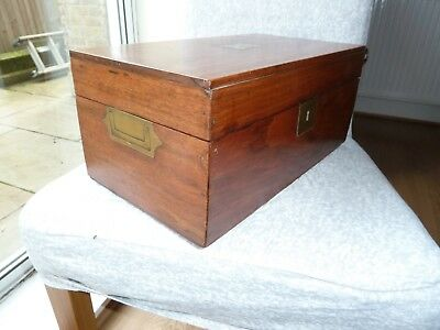Antique Mahogany Box With Brass Inset Handles, Lock and Plaque