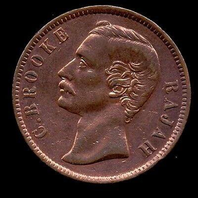 """Sarawak   One Cent  Un-Circulated  Copper Coin """"RAJAH"""" With Some Luster"""